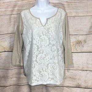 Liz Claiborne large cream lace top long sleeve